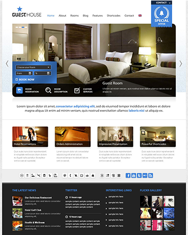 Wordpress website built for Vacation rental accommodations website